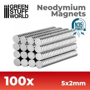 Imanes Neodimio 5x2mm - 100 unidades (N35)